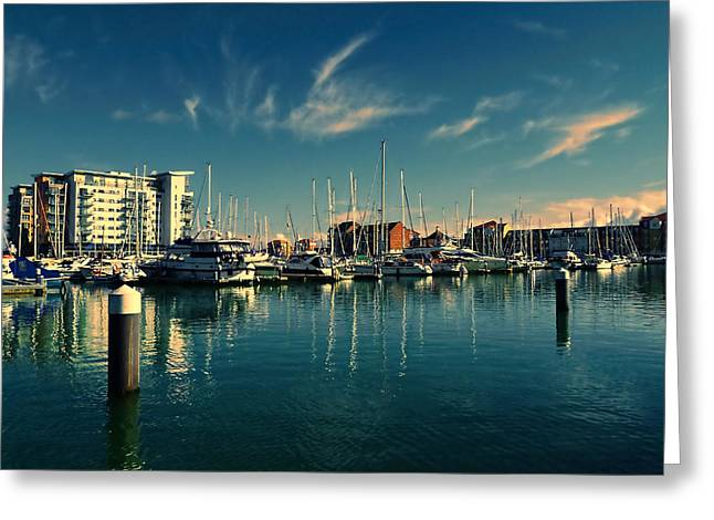 Yatch Greeting Cards - Sovereign Harbour Greeting Card by Sharon Lisa Clarke