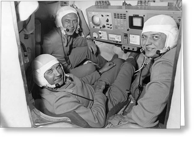 Take Command Greeting Cards - Soyuz 11 Rocket Crew Greeting Card by Ria Novosti