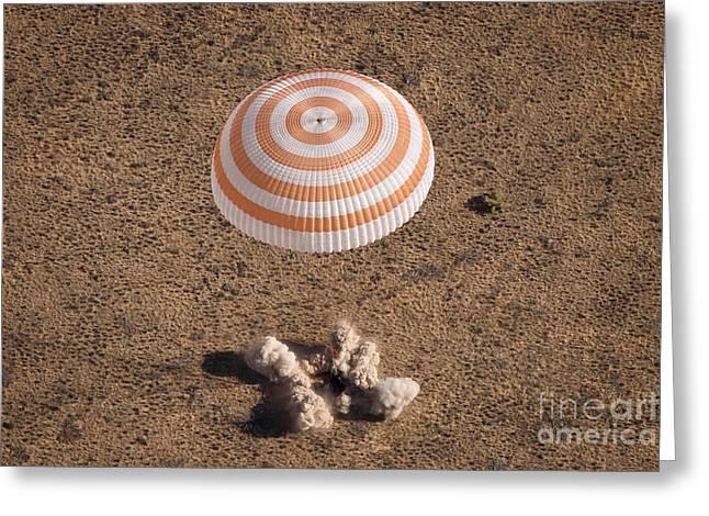Nasa Space Program Greeting Cards - Soyuz Spacecraft Landing In Kazakhstan Greeting Card by NASA/Science Source