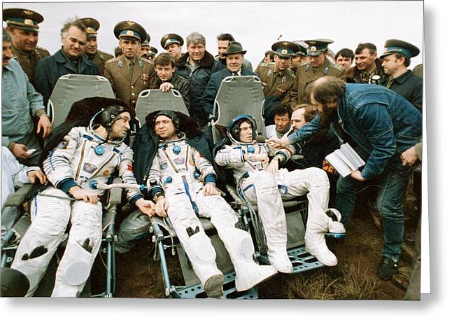 Interviewed Greeting Cards - Soyuz Tm-7 Mission Cosmonauts Greeting Card by Ria Novosti