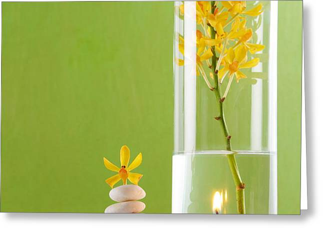 Spa Concepts with green background Greeting Card by ATIKETTA SANGASAENG
