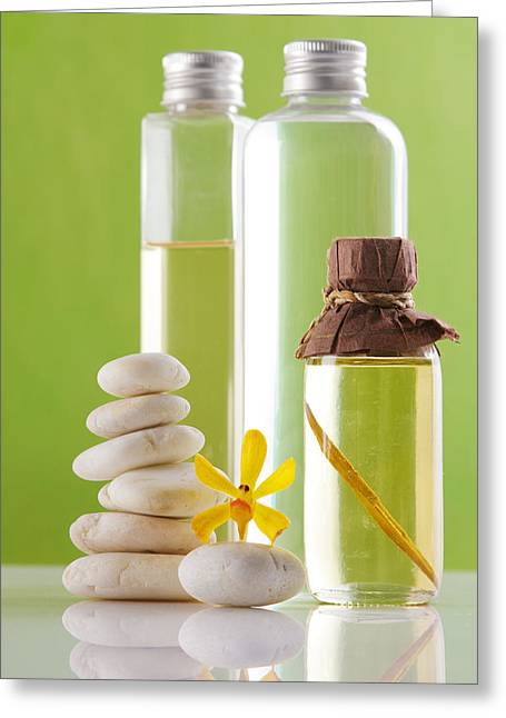 Pampered Greeting Cards - Spa oil bottles Greeting Card by Atiketta Sangasaeng