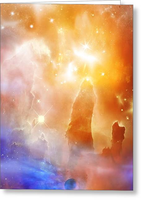 Glowing Mixed Media Greeting Cards - Space 007 Greeting Card by Svetlana Sewell