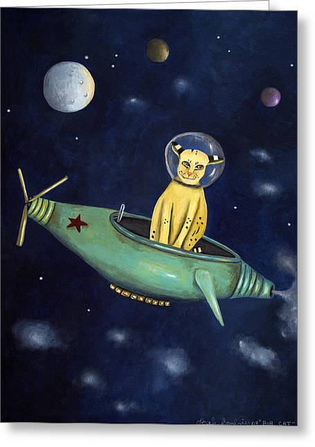 Bobcats Greeting Cards - Space Bob Greeting Card by Leah Saulnier The Painting Maniac