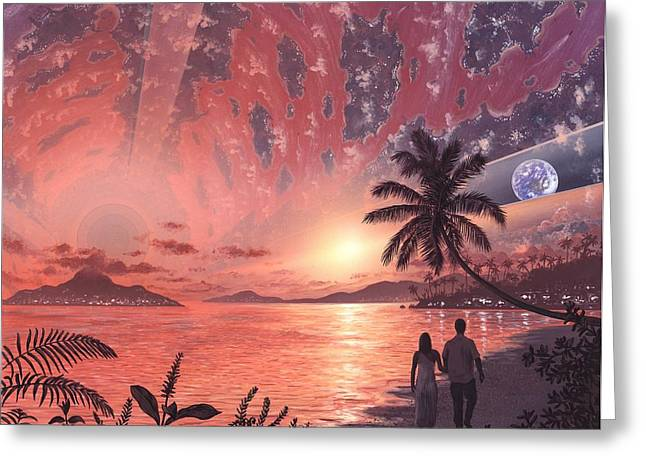 The Sun God Greeting Cards - Space Colony Holiday Islands, Artwork Greeting Card by Richard Bizley