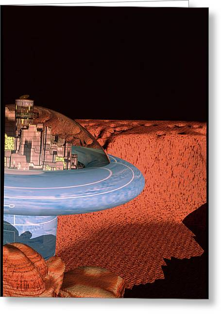 Colonisation Greeting Cards - Space Colony On Mars Greeting Card by Victor Habbick Visions