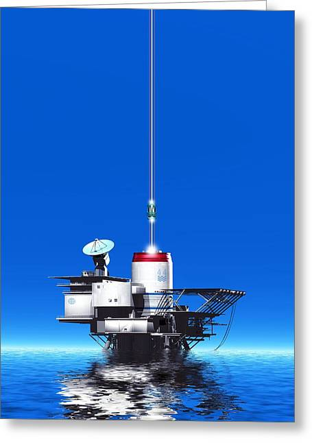 Space Elevator Station, Artwork Greeting Card by Victor Habbick Visions