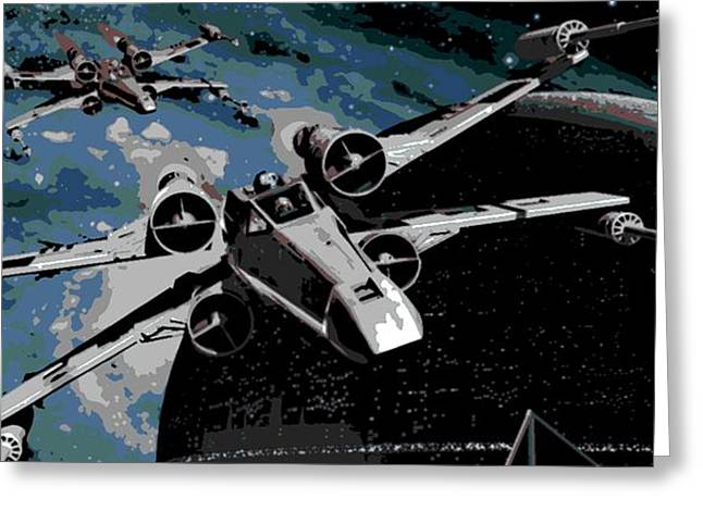 X-wing Greeting Cards - Space Greeting Card by George Pedro