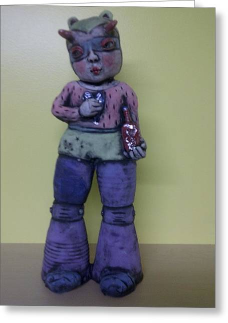 Fun Ceramics Greeting Cards - Space Girl With Tincture Bottle Greeting Card by Kathleen Raven