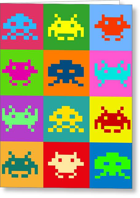 Alien Greeting Cards - Space Invaders Squares Greeting Card by Michael Tompsett