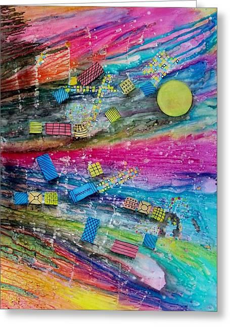 Representative Abstract Mixed Media Greeting Cards - Space Junk Greeting Card by David Raderstorf