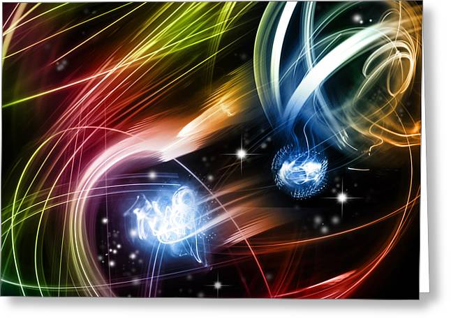 Neon Effects Greeting Cards - Space Greeting Card by Les Cunliffe