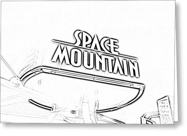 Photocopy Greeting Cards - Space Mountain Sign Magic Kingdom Walt Disney World Prints Black and White Photocopy Greeting Card by Shawn O