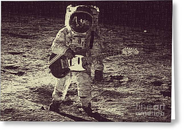 Moon And Neil Armstrong Greeting Cards - Space Mustang Greeting Card by Jean Purgaj