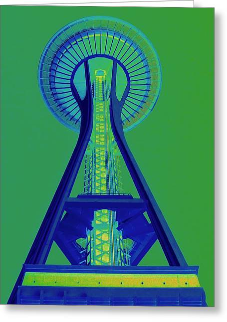 Seattle Landmarks Greeting Cards - Space Needle Emerald Sky Greeting Card by Randall Weidner