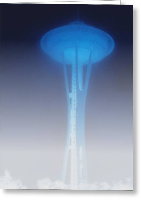 Space Needle Greeting Cards - Space Needle in serious fog - Seattle WA Greeting Card by Christine Till