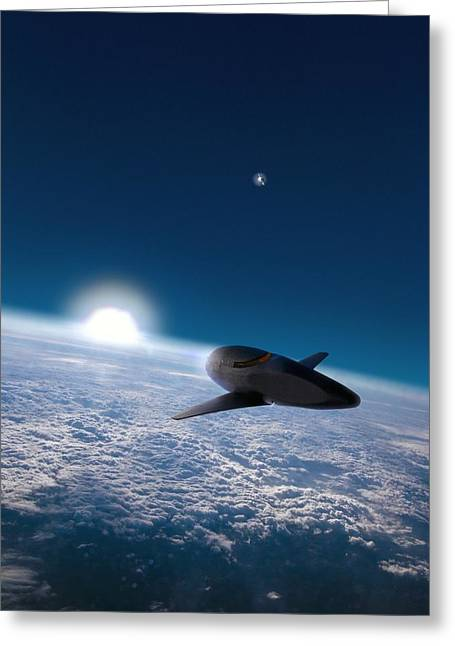 Spaceplane Greeting Cards - Space Plane In Earth Orbit Greeting Card by Richard Kail