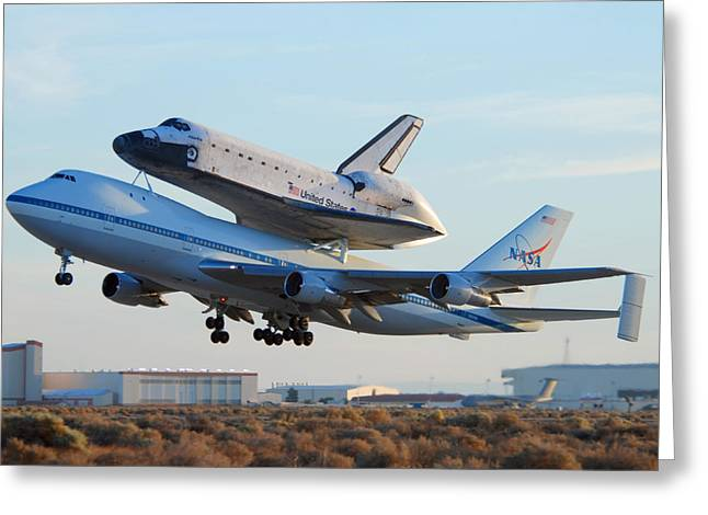 Space Shuttle Photographs Greeting Cards - Space Shuttle Atalantis departs Edwards AFB July 1 2007 Greeting Card by Brian Lockett