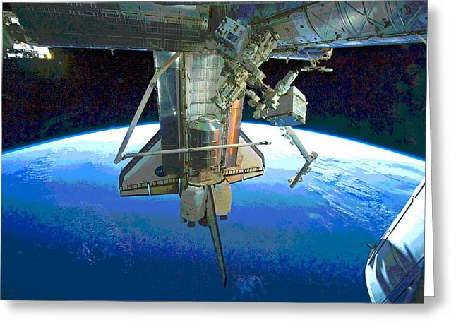 Space Shuttle Atlantis At Iss Greeting Card by Padre Art
