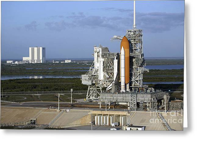 Atlantis Greeting Cards - Space Shuttle Atlantis Atop The Mobile Greeting Card by Stocktrek Images