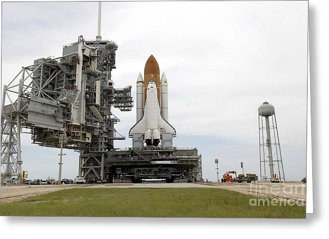 Atlantis Greeting Cards - Space Shuttle Atlantis Comes To A Stop Greeting Card by Stocktrek Images