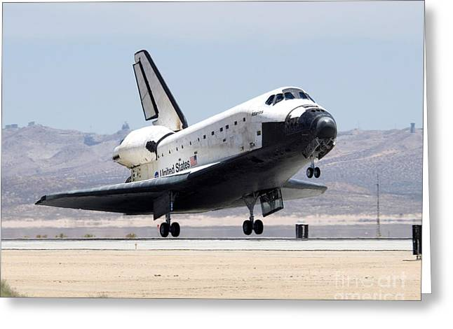 Atlantis Greeting Cards - Space Shuttle Atlantis Lands Greeting Card by Nasa