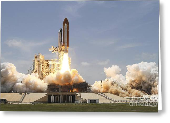 Atlantis Greeting Cards - Space Shuttle Atlantis Lifting Greeting Card by Stocktrek Images
