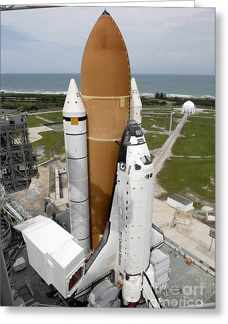 Atlantis Greeting Cards - Space Shuttle Atlantis Sits On The Top Greeting Card by Stocktrek Images