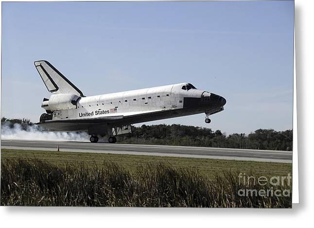 Braking Greeting Cards - Space Shuttle Atlantis Touches Greeting Card by Stocktrek Images