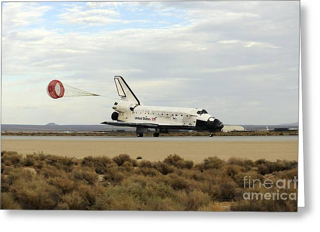 Braking Greeting Cards - Space Shuttle Discovery Deploys Greeting Card by Stocktrek Images