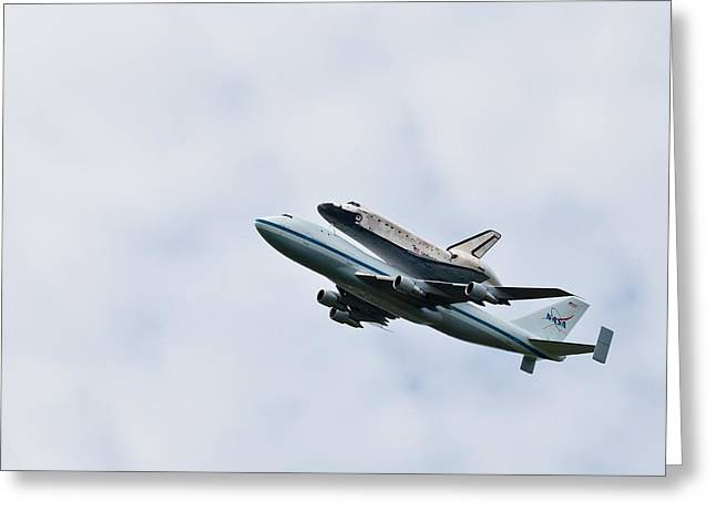 Enterprise D Greeting Cards - Space shuttle Discovery Flyover over the Washington D.C. area  Greeting Card by Dasha Rosato