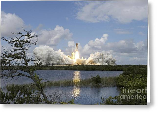 Thrust Greeting Cards - Space Shuttle Discovery Liftoff Greeting Card by Stocktrek Images