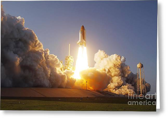 Launch Pad Greeting Cards - Space Shuttle Discovery Lifts Greeting Card by Stocktrek Images