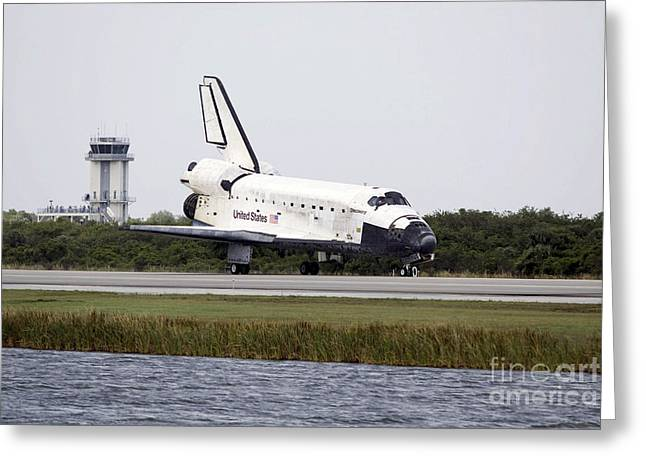 Traffic Control Greeting Cards - Space Shuttle Discovery On The Runway Greeting Card by Stocktrek Images