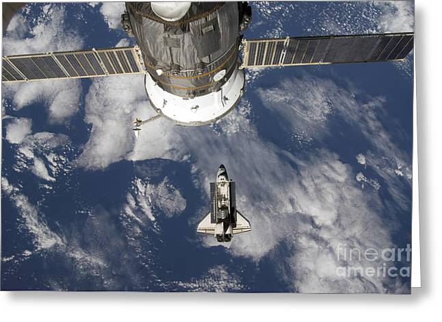 Space Shuttle Photographs Greeting Cards - Space Shuttle Endeavour, A Russian Greeting Card by Stocktrek Images