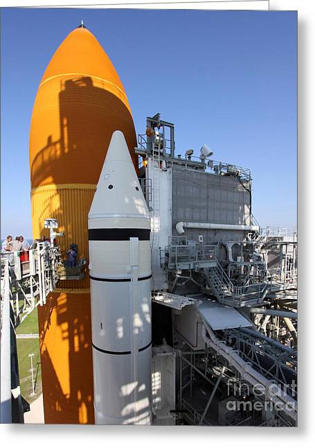 Maintenance Facility Greeting Cards - Space Shuttle Endeavour On The Launch Greeting Card by Stocktrek Images