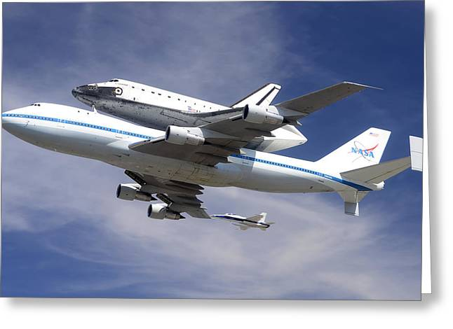 Boeing Greeting Cards - Space Shuttle Endeavour Over LAX with Hornet Chase Plane September 21 2012 Greeting Card by Brian Lockett