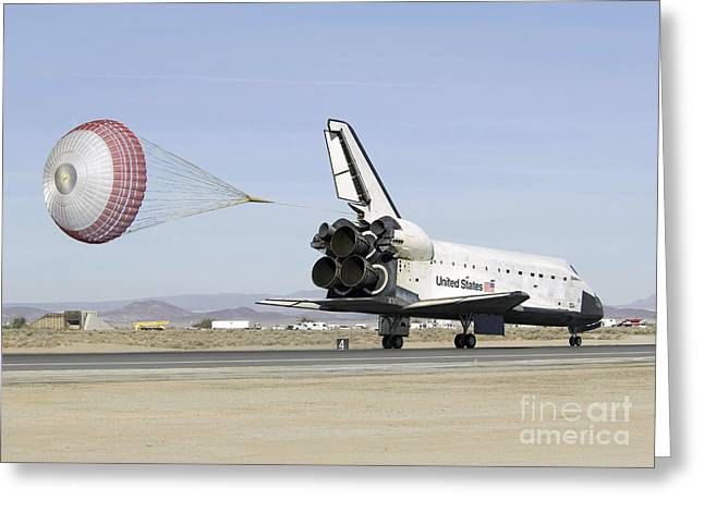 Braking Greeting Cards - Space Shuttle Endeavour With Its Drag Greeting Card by Stocktrek Images