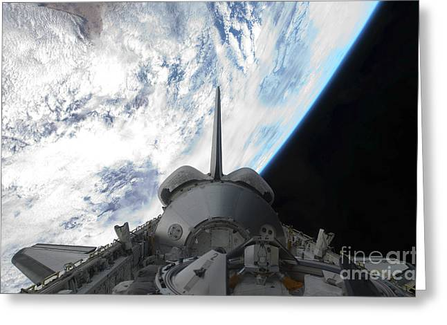 Planet Earth Greeting Cards - Space Shuttle Endeavours Payload Bay Greeting Card by Stocktrek Images