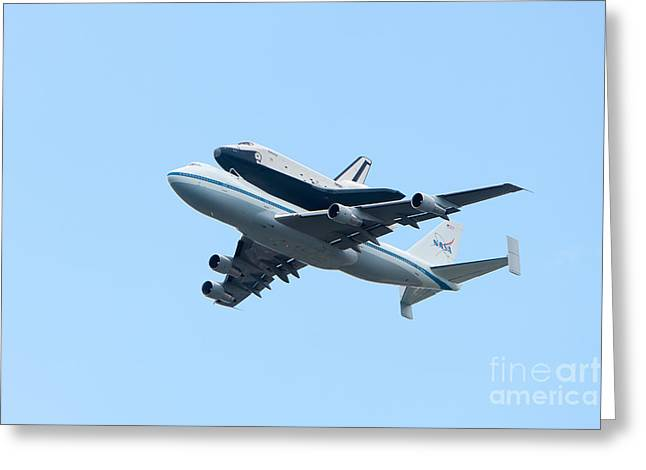 Space Shuttle Enterprise Arrives in New York City Greeting Card by Clarence Holmes