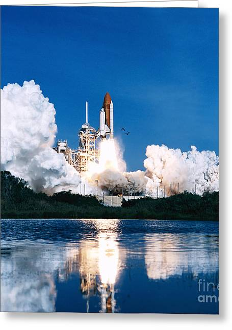 Blastoff Greeting Cards - Space Shuttle Launch Greeting Card by Stocktrek Images