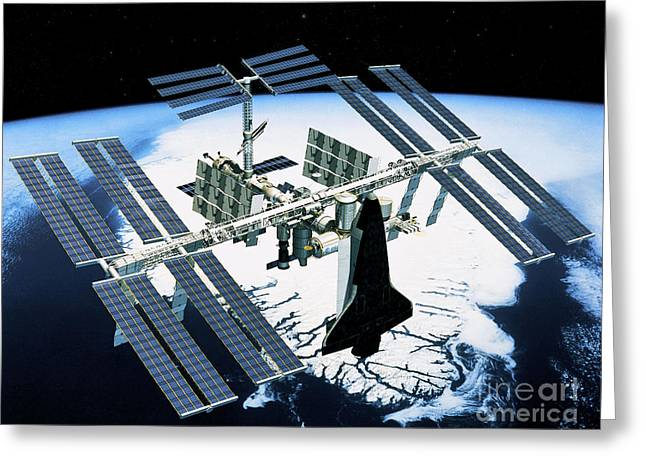 Outerspace Greeting Cards - Space Station Greeting Card by Science Source