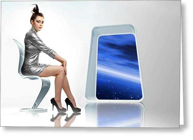 Silver Dress Greeting Cards - Space Travel, Conceptual Image Greeting Card by Victor Habbick Visions