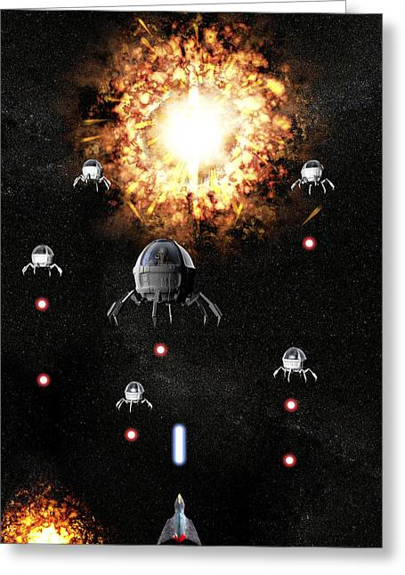 Space War Greeting Card by Christian Darkin