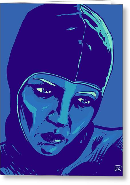 Scifi Greeting Cards - Spaceman in Blue Greeting Card by Giuseppe Cristiano