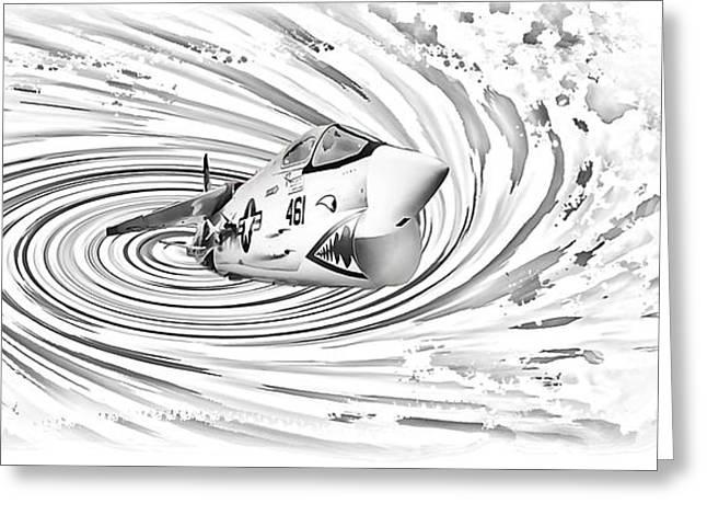 Vertigo Greeting Cards - Spaceship Vertigo Greeting Card by Maggie Magee Molino
