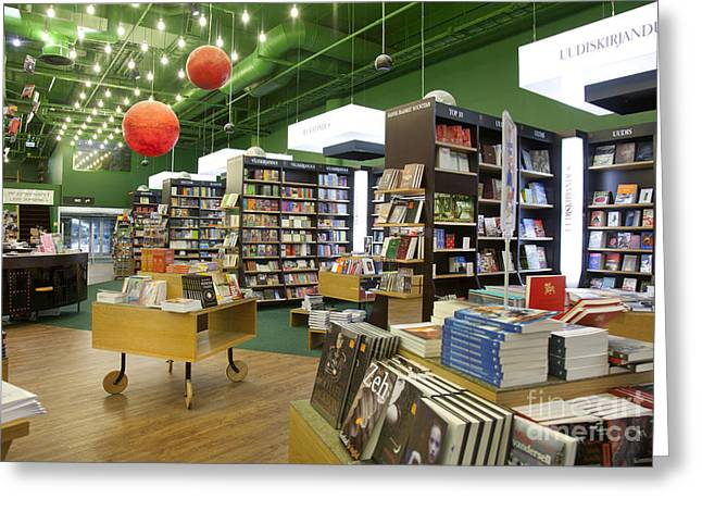 Shelving Greeting Cards - Spacious Bookstore Interior Greeting Card by Jaak Nilson