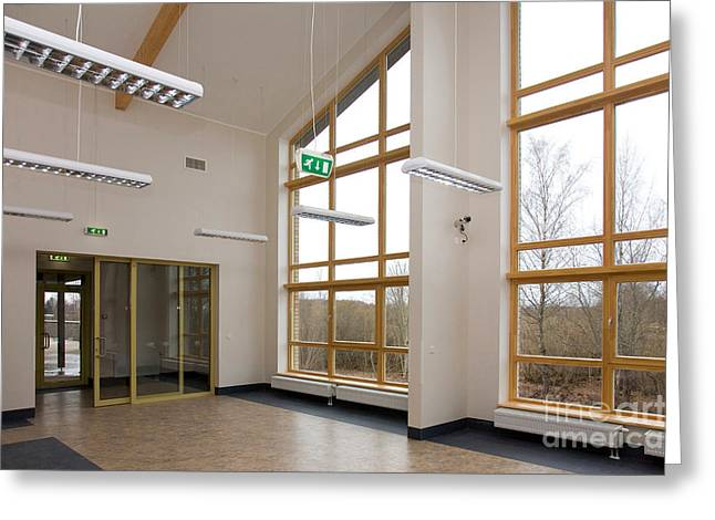 """""""sliding Doors"""" Greeting Cards - Spacious Room With Large Windows Greeting Card by Jaak Nilson"""