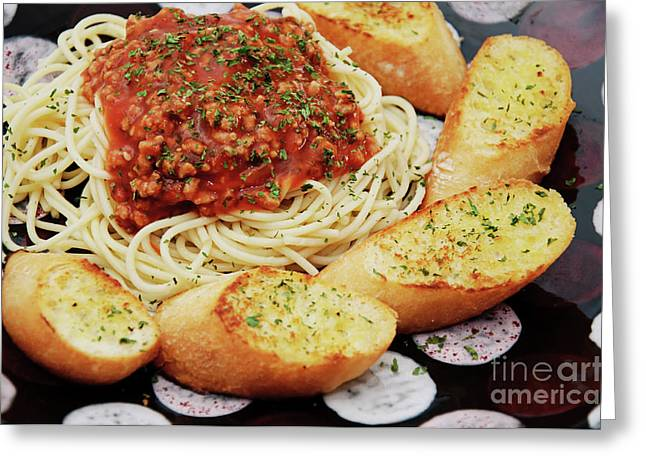Spaghetti Noodles Greeting Cards - Spaghetti And Meat Sauce With Garlic Toast  Greeting Card by Andee Design