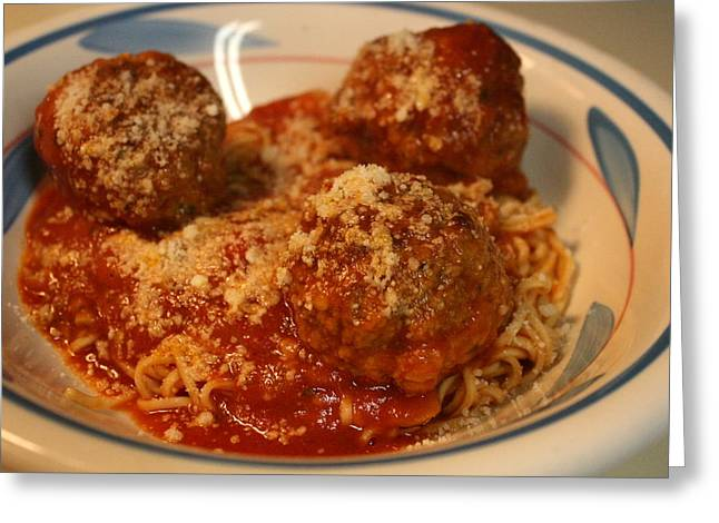 Spaghetti Greeting Cards - Spaghetti And Meatballs Greeting Card by Anne Babineau